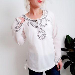 Prana Boho Embroidered Tunic Blouse Top 009